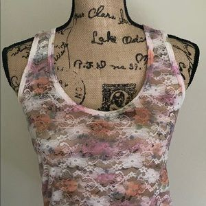 Body Central Tops - Floral Lace Tank Top
